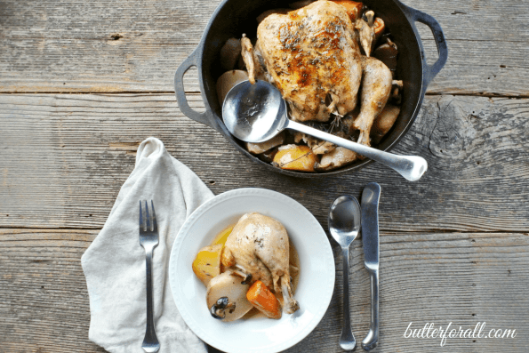 Dutch Oven Whole Chicken With Root Vegetables And Mushrooms