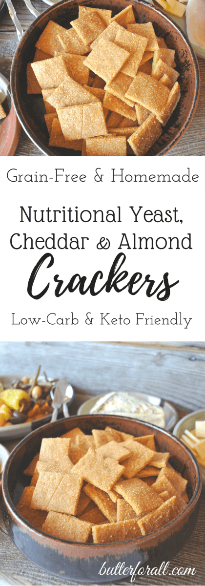 Nutritional Yeast, Cheddar And Almond Crackers - Grain-Free And Low-Carb