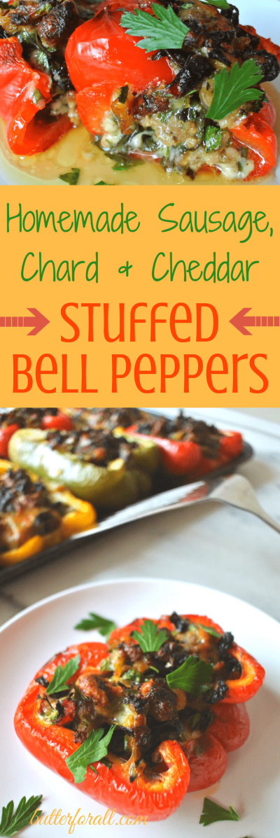 Homemade Sausage, Chard And Cheddar Stuffed Bell Peppers