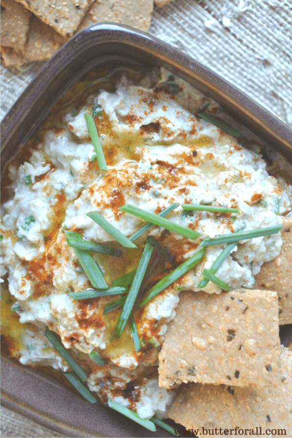 A Thick creamy dip made from fire roasted eggplants.