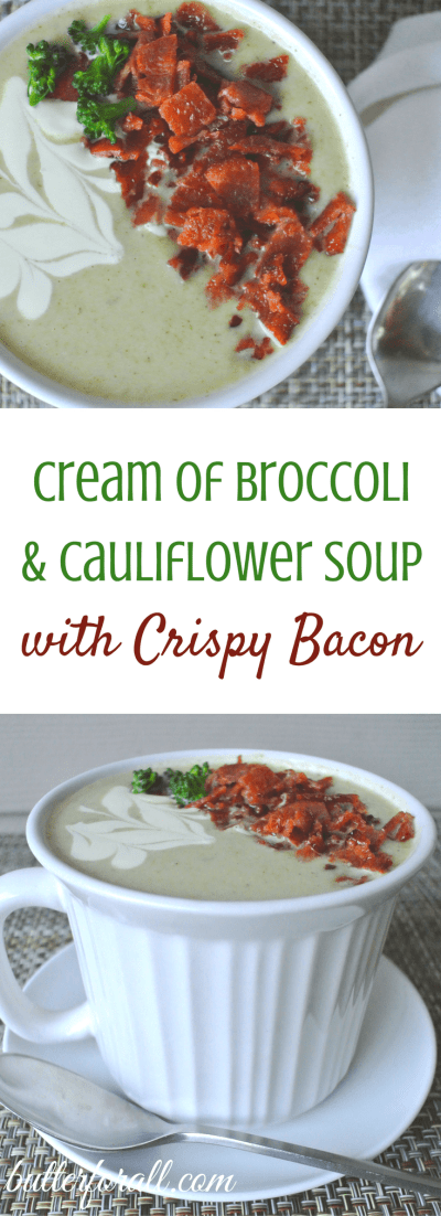 Cream Of Broccoli And Cauliflower Soup With Crispy Bacon