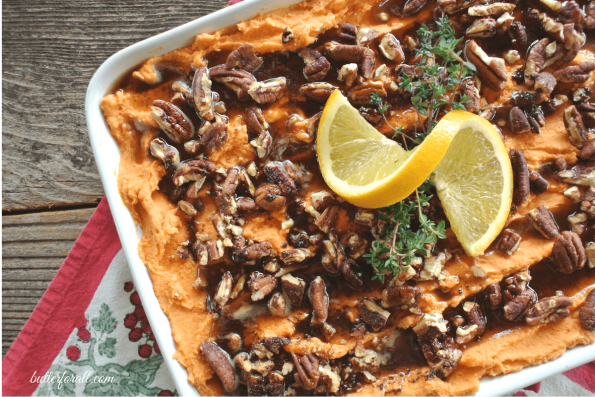 Rich And Creamy Sweet Potato Casserole With Browned Butter And Cinnamon Maple Pecans