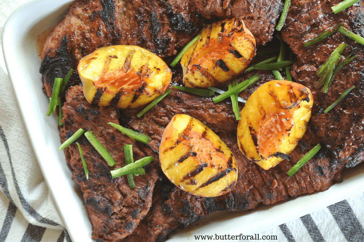 Grilled Bavette Steaks With Jalapeño Peach Marinade