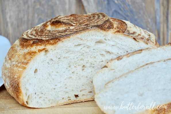 A soft and fluffy sourdough boule with a nice even crumb.