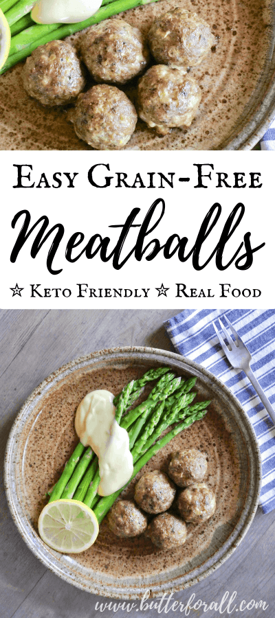 These incredibly easy, real food meatballs are made with pastured meats, herb and spices for a delicious and healthy meal. #keto #lchf #realfood #pasturedmeat #homemade #easy #delicious #coconutflour #wisetraditions #nourishingtraditions