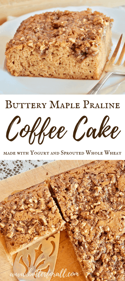 This rich and moist cake is refined sugar free and made with sprouted whole wheat, butter and yogurt for a nourishing sweet treat! Perfect served with coffee to tea, this cake is sure to please. #nourished #wisetraditions #properlypreparedgrains #sproutedwheat #wholewheat #sproutedflour #cake #praline #realfood