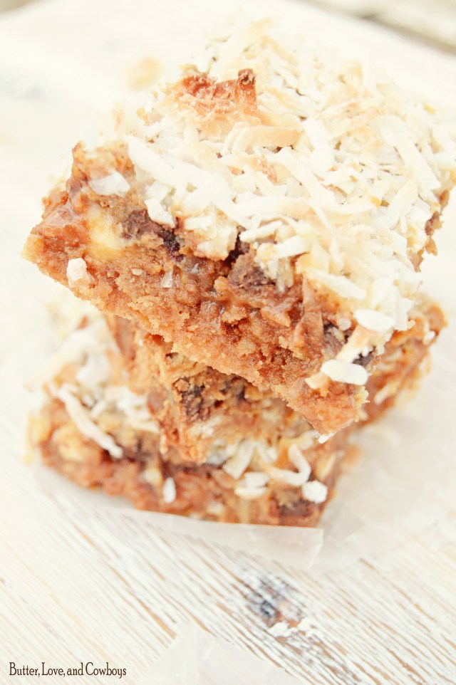 Pumpkin Seven Layer Bars from butterloveandcowboys.com