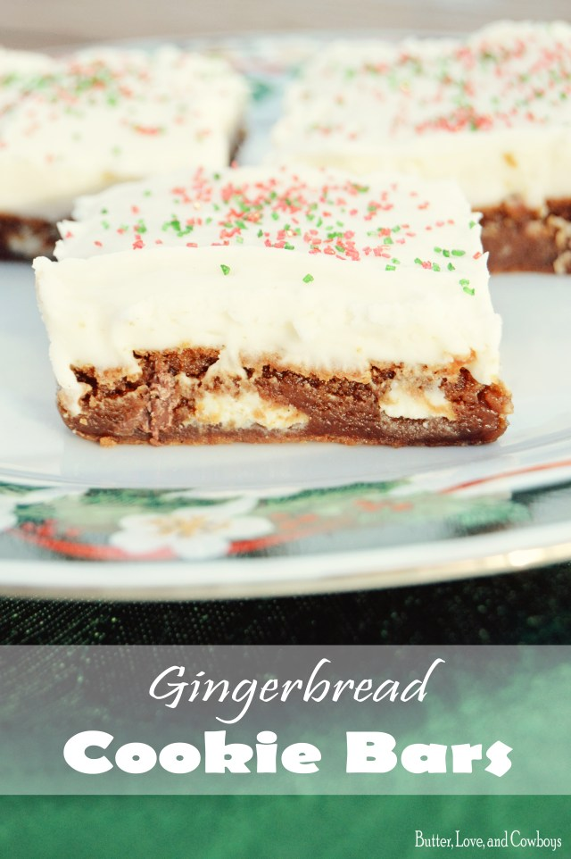 Gingerbread Cookie Bars from butterloveandcowboys.com