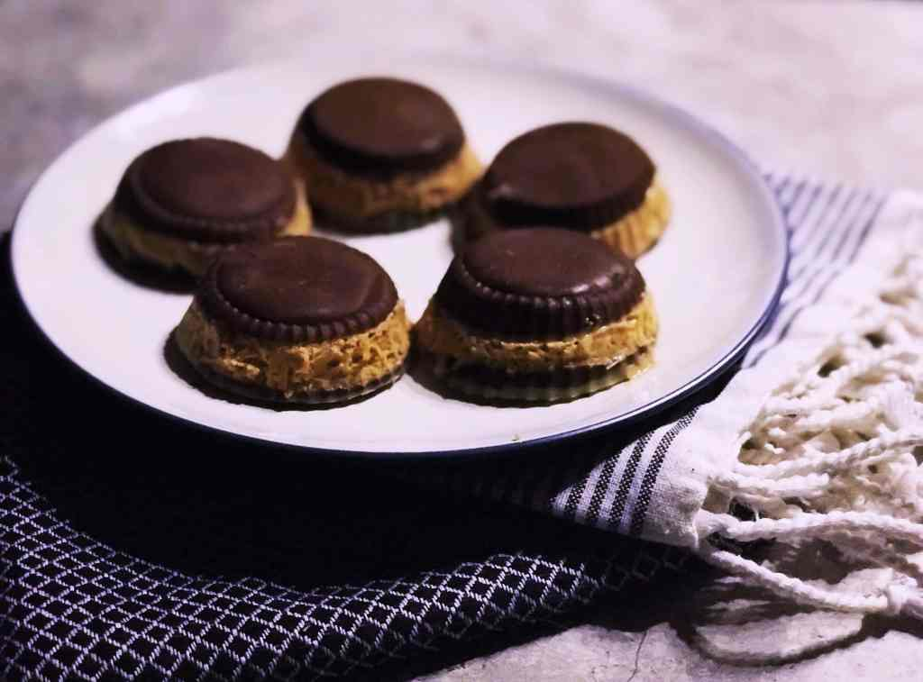 double stuffed peanut butter cups on a plate