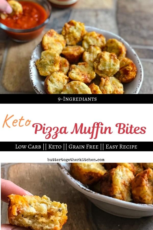 Keto Pizza Muffin Bites - Savory and Cheesy! #ketoappetizer #pizzabites #pizzamuffins #ketopizza #lowcarbpizza #lowcarbsnacks | buttertogetherkitchen.com