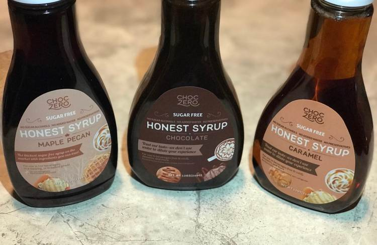 choc zero syrups lined next to each other