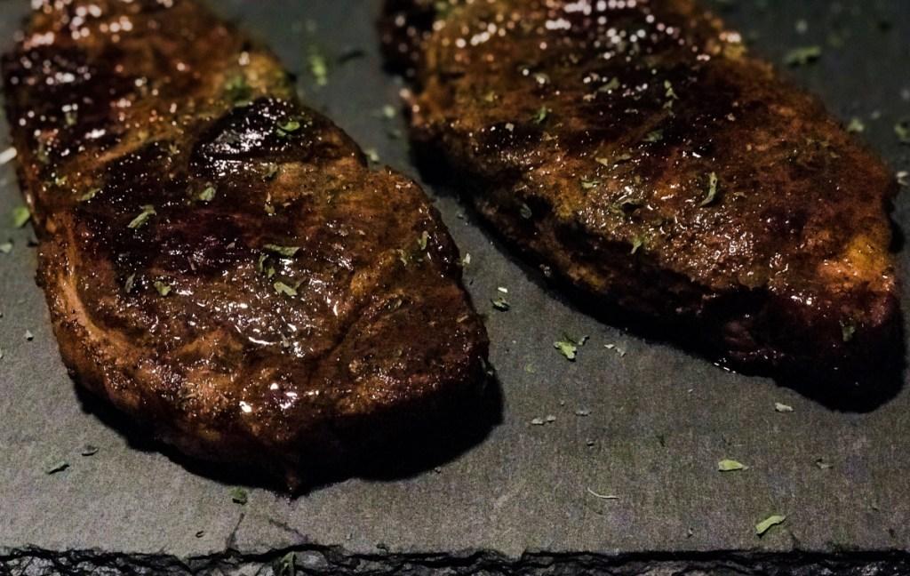 close up view of reverse sear steak