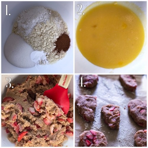 step-by-step process of the strawberry cinnamon scones