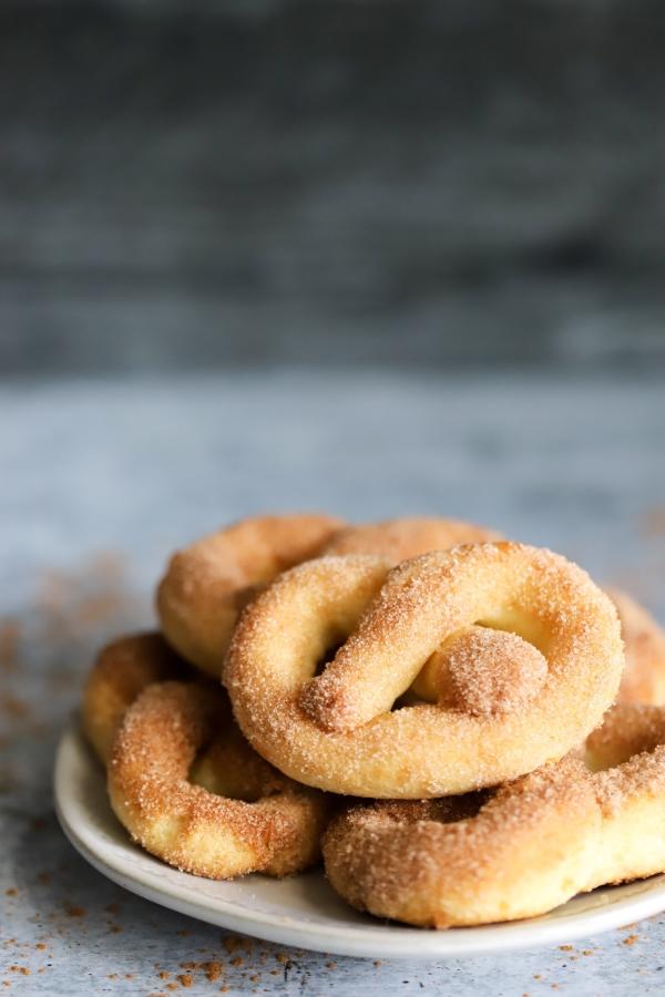 a closeup plate of pretzels