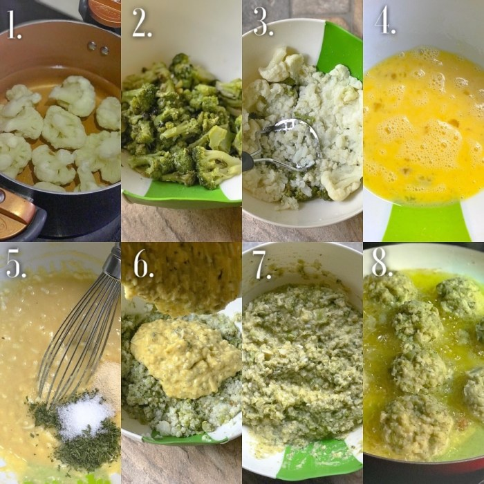 Step-By-Step How to make broccoli and cauliflower fritters