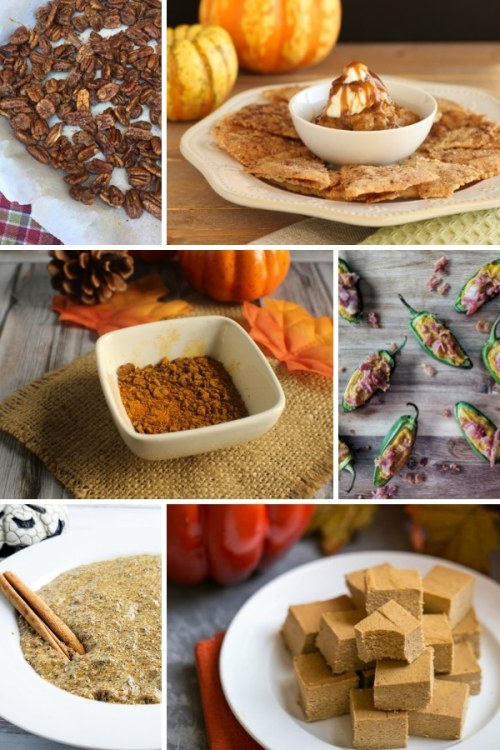 collage of 6 pumpkin snack images