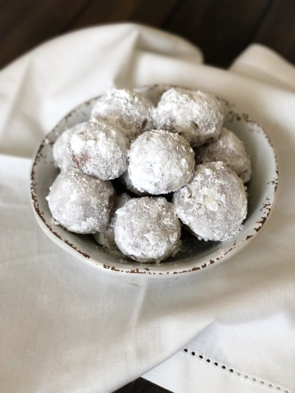 chocolate snowball cookies in a bowl