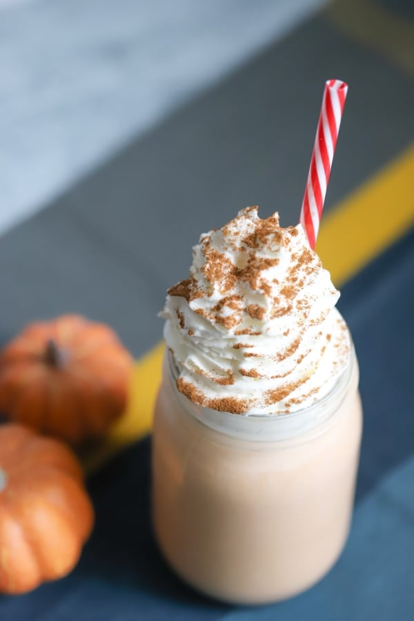 top side view of the keto pumpkin shake