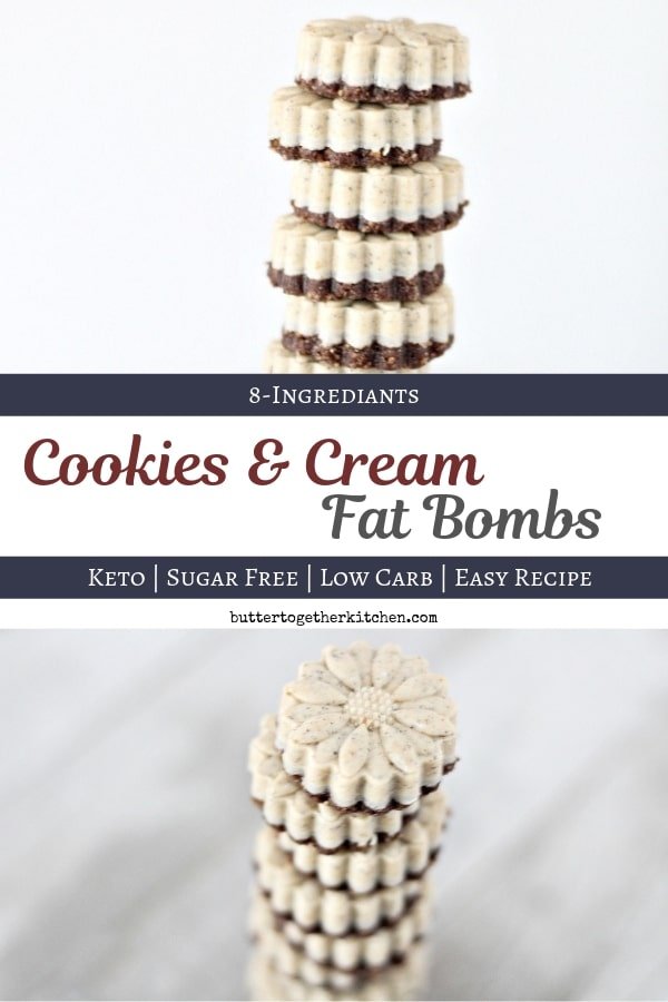 Keto Cookies & Cream Fat Bombs - Less Than 1 Carb! #fatbomb #cookiesandcream #ketofatbomb #fatbombs #ketosnack #ketodessert #lowcarb #sugarfree #easyketorecipes | buttertogetherkitchen.com