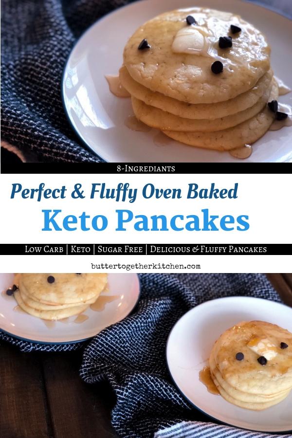 Perfect Oven Baked Keto Pancakes #ketopancakes #ketobreakfast #breakfast #ketobreakfast #lowcarbpancakes #lowcarb #easyketorecipes #ketobrunch #fluffypancakes #sugarfree | buttertogetherkitchen.com