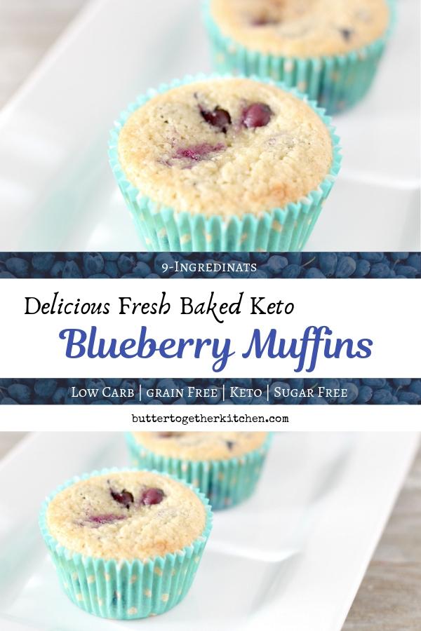 Delicious Keto Blueberry Muffins #ketomuffins #blueberrymuffins #lowcarbmuffins #ketobreakfast #sugarfree #sugarfreemuffins #muffins #ketoblueberrymuffins #blueberries #blueberryrecipe | buttertogetherkitchen.com