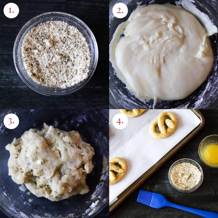 four picture collage of step by step keto pretzels