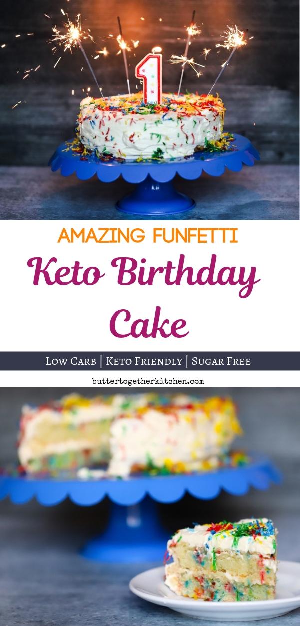 Funfetti Keto Birthday Cake #ketocake #ketobirthdaycake #ketodessert #lowcarbcake #sugarfreecake | buttertogetherkitchen.com