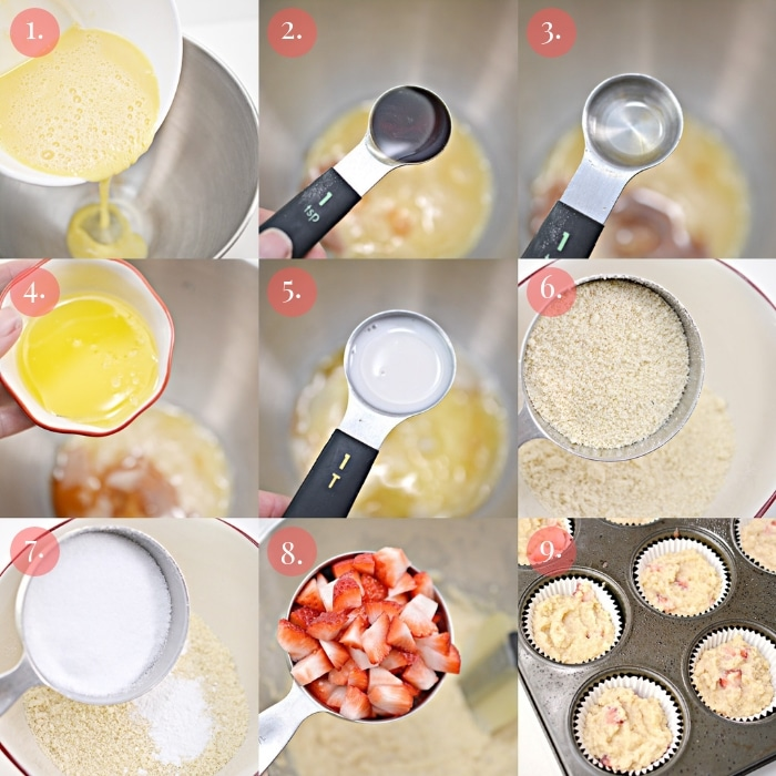 step by step 9 photo collage how to make keto strawberry muffins