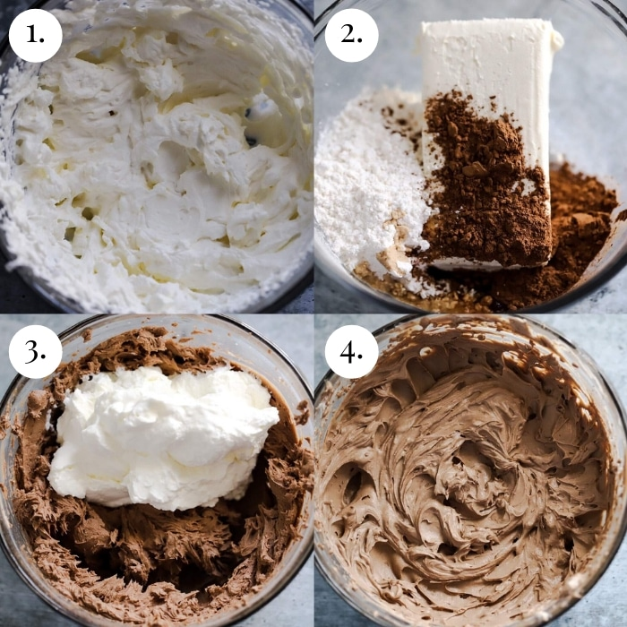 step by step photo collage of keto chocolate pudding