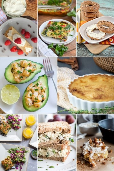 8 photo collage of different brunch recipes