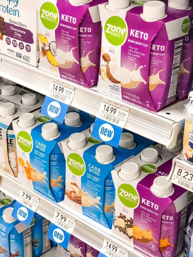 photo of ZonePerfect keto shakes on the shelf at publix