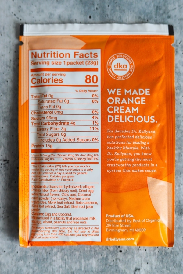 packet of orange cream collagen showing the macros and ingredients