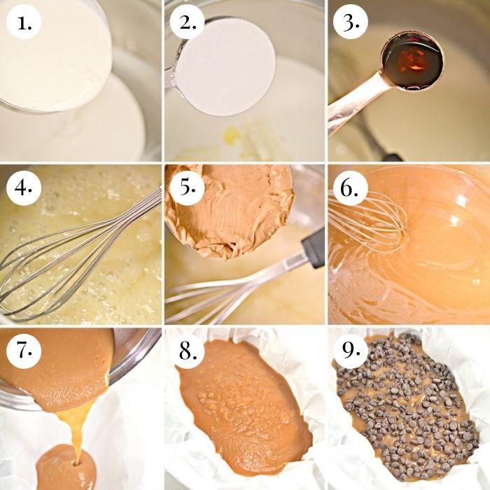 nine photo collage of keto peanut butter fudge