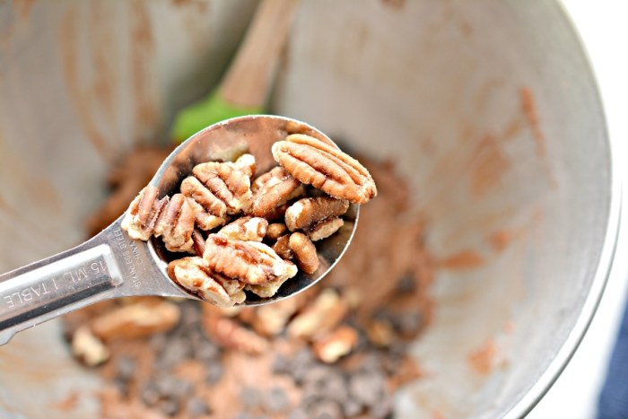 spot of pecan over the mixing bowl