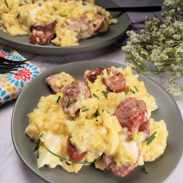 Sausage Feta Eggs Breakfast Scramble Low Carb/Keto