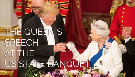 Image shows the Queen and Donald Trump Toasting at the US State banquet - Buttondown.tv