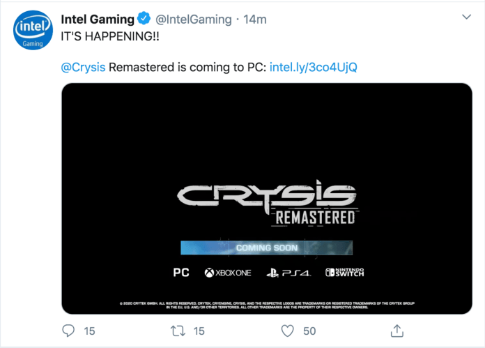 Crysis is Making a Comeback With a Remaster for the PC, Xbox One, PS4 and Switch