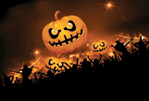 Halloween Music Party Photography Backdrops Pumpkin Face ...