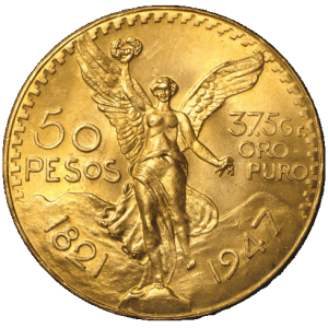 obverse side of the Mexican Centenario gold coins