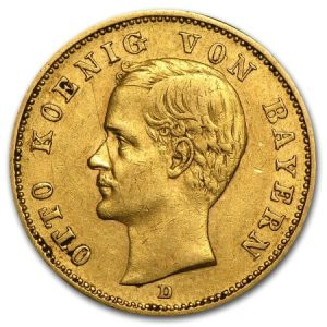 obverse side of the 20 Mark King Otto rare gold coins