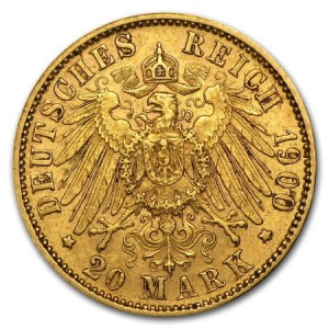reverse side of the 20 Mark King Otto rare gold coins