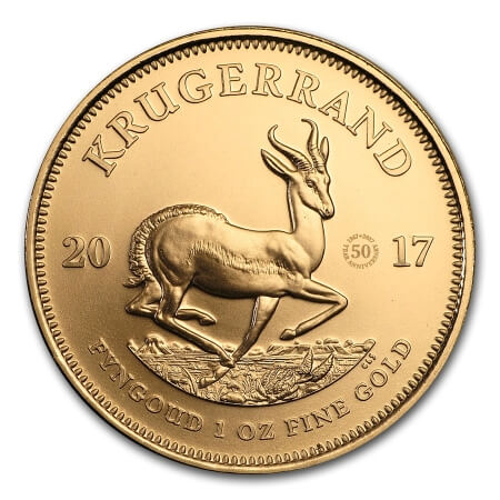 reverse side of the gold edition of the 50th Anniversary South African Krugerrands