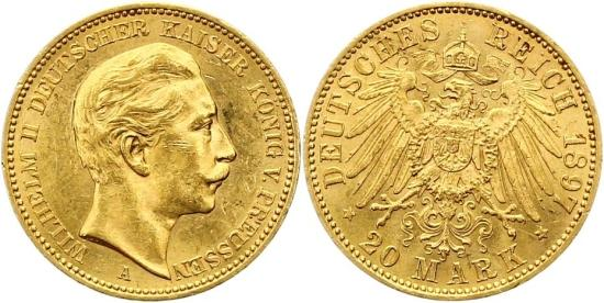 The third German emperor Wilhelm II can be seen on these 20 Gold Reichsmark from 1897