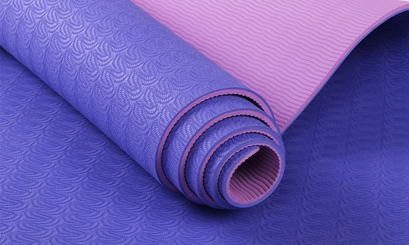 purple double layer yoga mat details