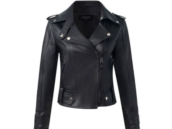 slim fit leather jacket womens fahion shoes