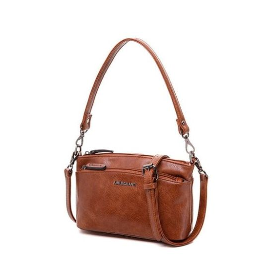 AMELIE GALANTI MESSENGER BAG RED BROWN