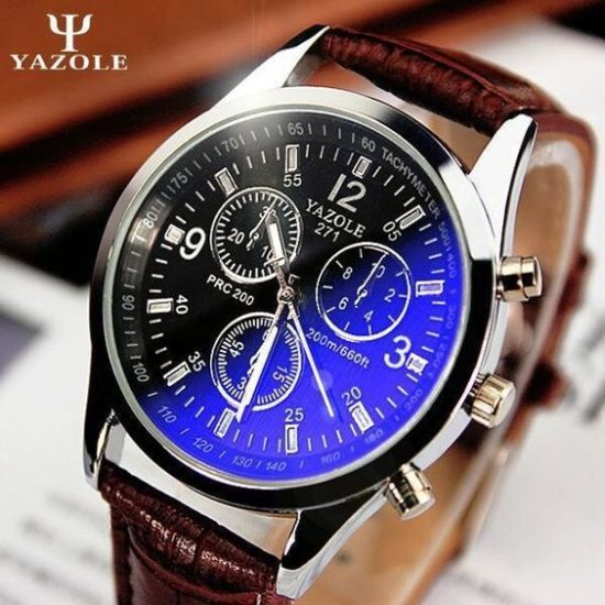 yazole 271 watch with leather band and reviews
