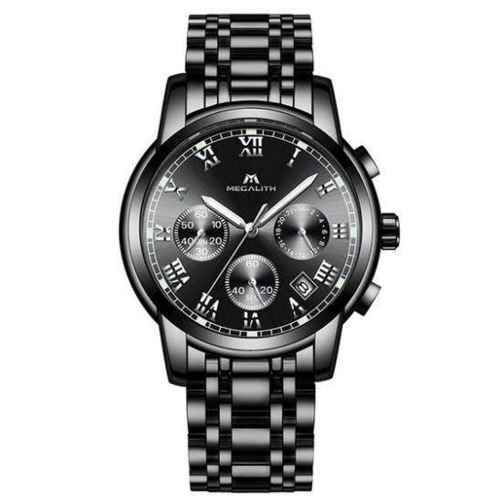 luxury megalith watch steel strap analogue quartz wrist watches
