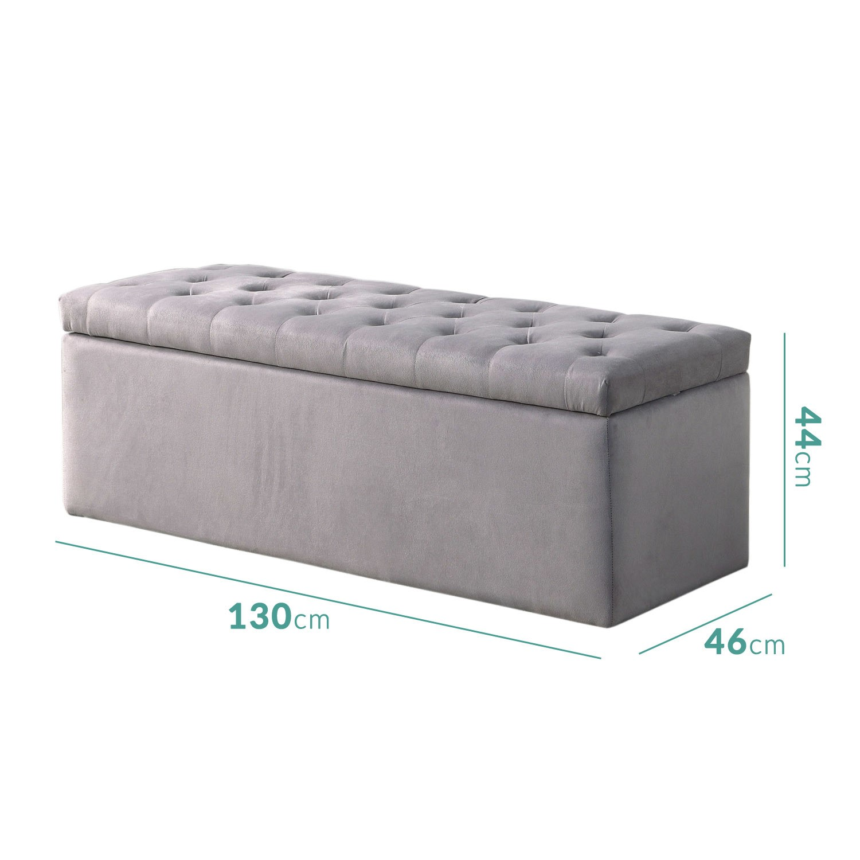 Safina Ottoman Storage Box In Grey Velvet Buyitdirect Ie