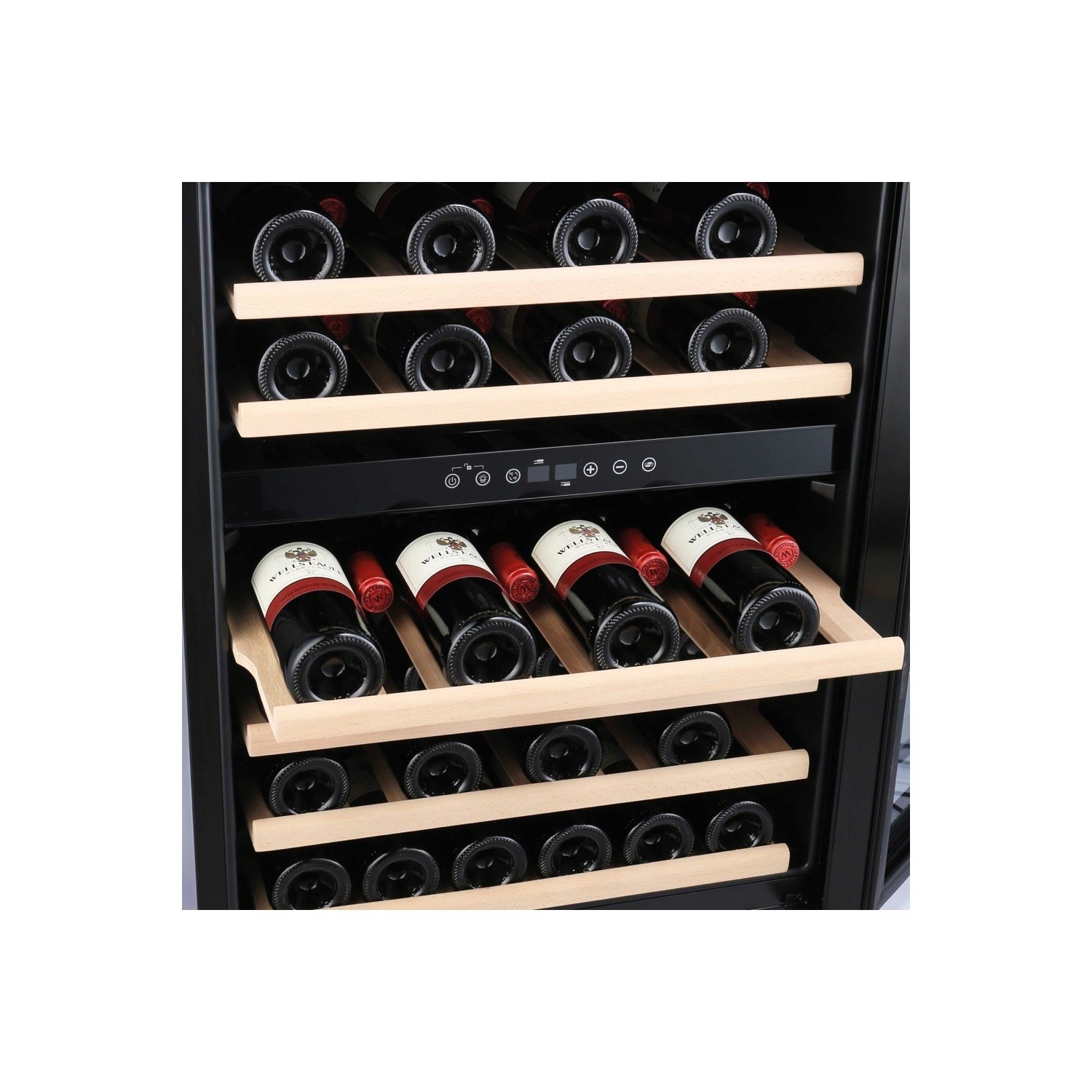 amica awc600ss 46 bottle freestanding under counter wine cooler dual zone 60cm wide 82cm tall stainless steel